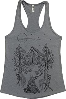 Womens Tank Top Hand Printed Camping Heather Grey