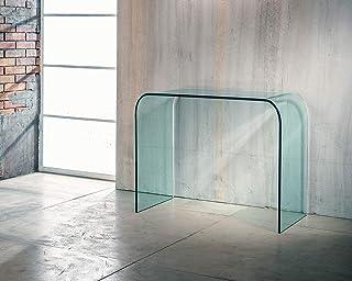 IMAGO FACTORY Bohemian | Console d'entrée – Pont en verre incurvé, meuble de salon moderne, console de salon en verre, meu...