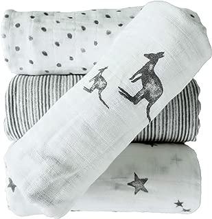 """JILL&JOEY Baby Muslin Swaddle Blankets, 4 Pack, 100% Cotton, 47x47"""""""