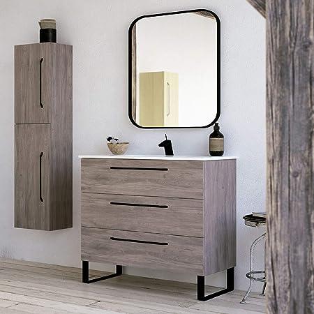 Amazon Com Modern Bathroom Vanity Cabinet Set Dakota Chicago Grey Oak Wood 40 X 33 X 18 Inch Vanity Cabinet Ceramic Top Sink 3 Drawers Kitchen Dining