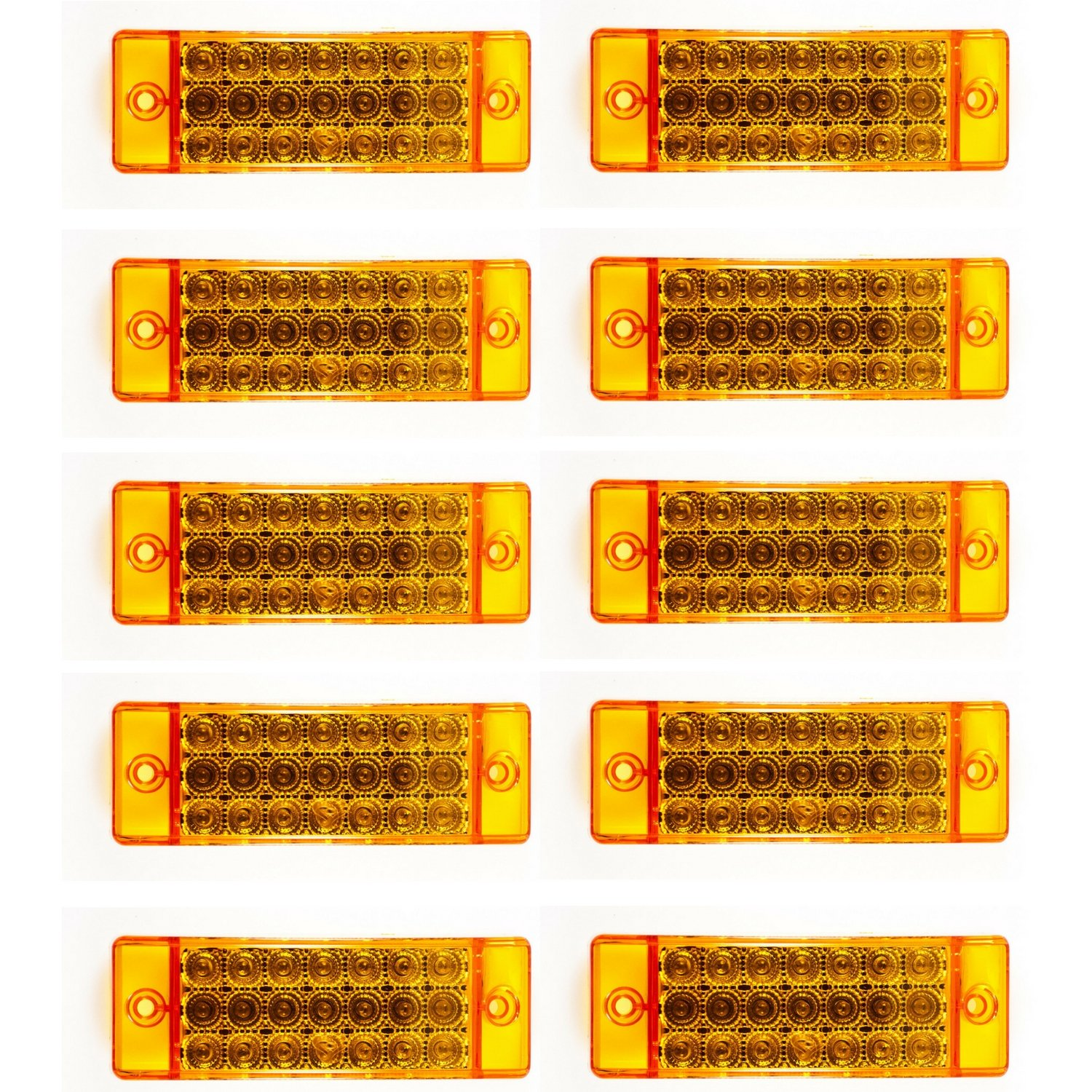 Red 21 LED Side Marker Clearance Light Rectangle 12V Truck Trailer Camper Qty 6 ALL STAR TRUCK PARTS