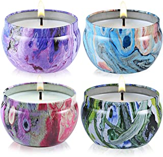 Scented Candles - Jasmine, Vanilla, Rose & Lavender, Natural Soy Wax Portable Travel Tin Candle,Gift Set of 4
