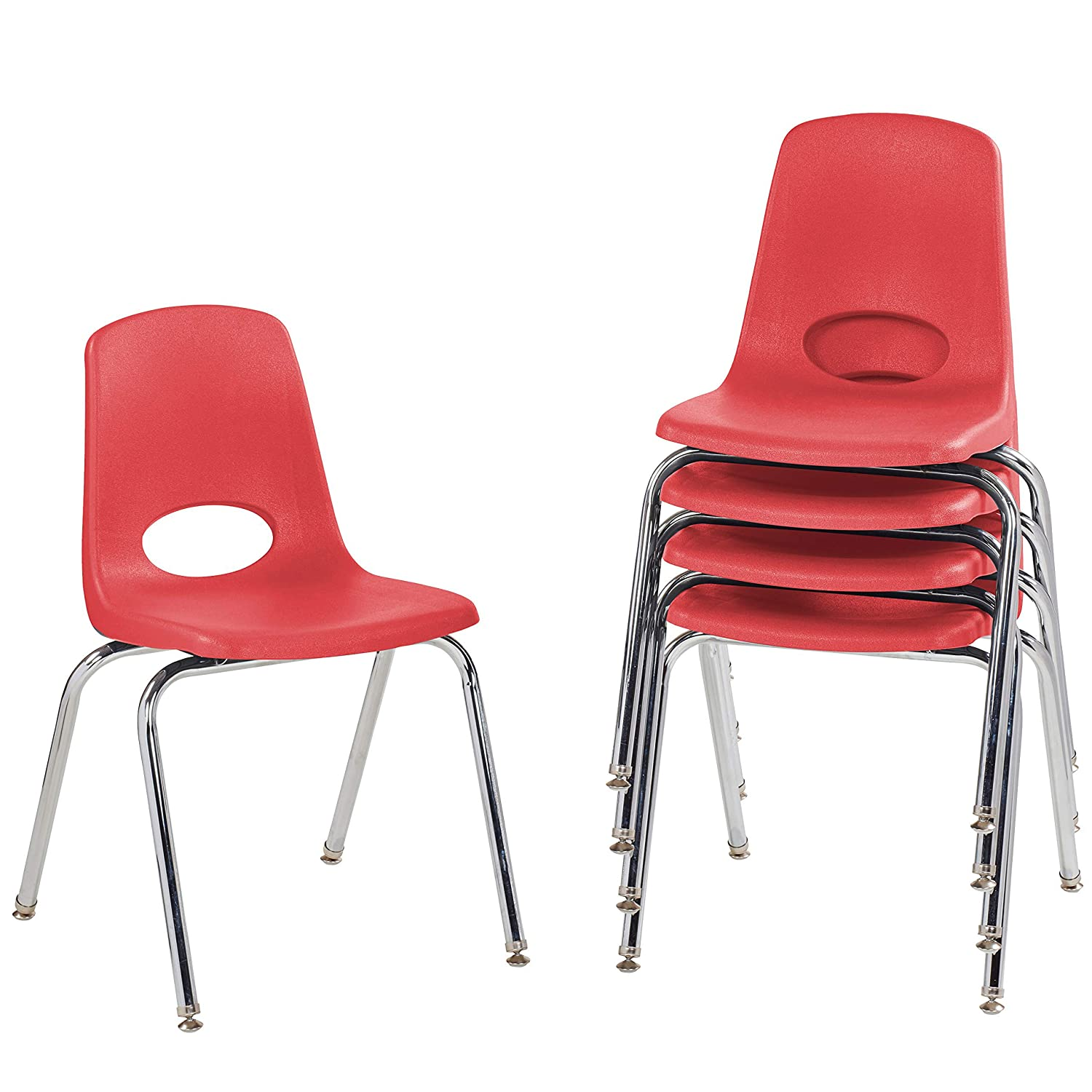 """FDP-10371-RD 18"""" School Stack Chair,Stacking Student Seat with Chromed Steel Legs and Nylon Swivel Glides; for in-Home Learning, Classroom or Office - Red (5-Pack): Industrial & Scientific"""
