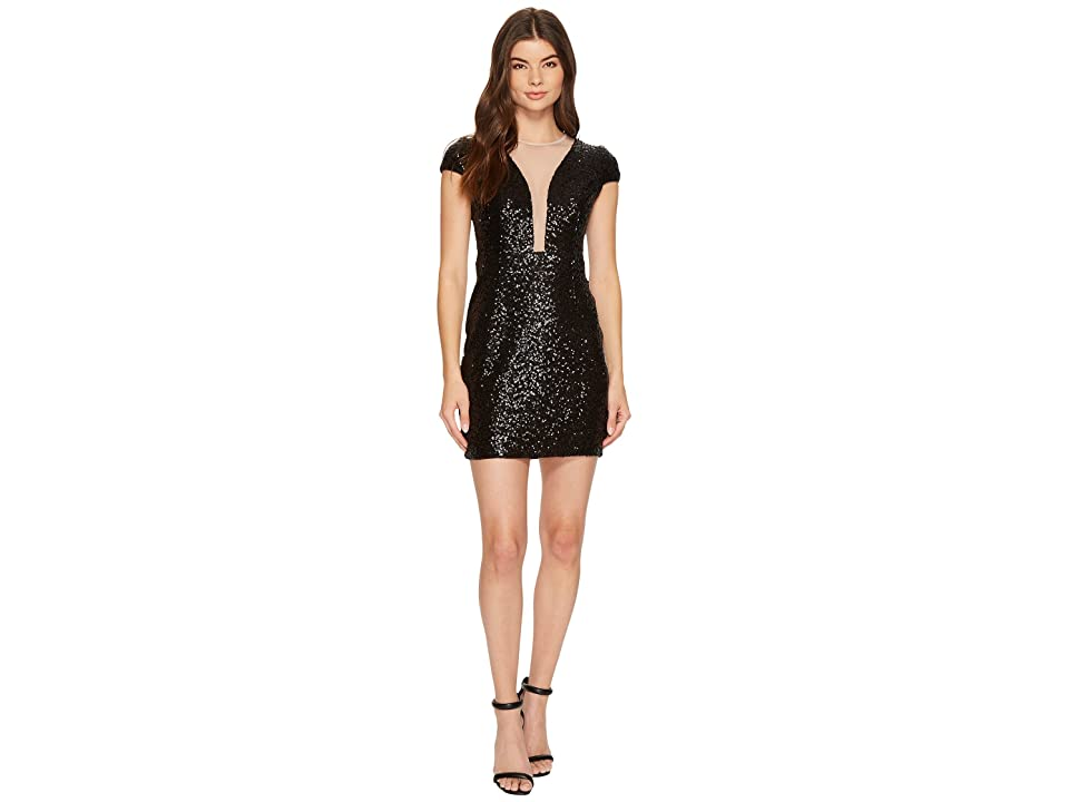 Aidan Mattox Cap Sleeve Sequin Dress (Black) Women