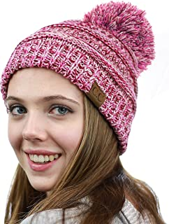 NYFASHION101 Unisex Multicolor Warm Cable Knit Slouch Pom Pom Beanie Cap