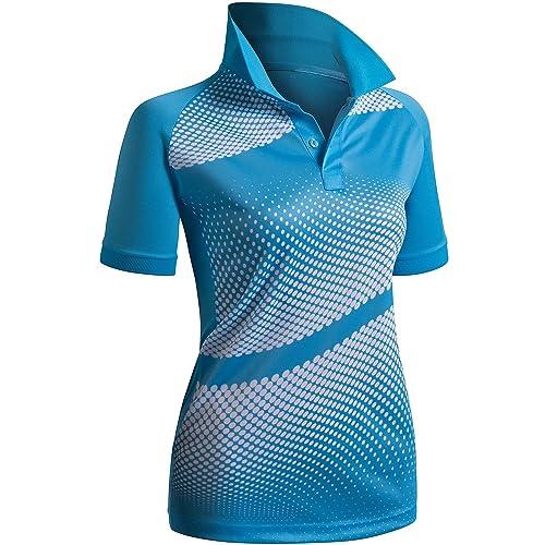 4a154a2c CLOVERY Women's Active Wear POLO Shirt Short Sleeve Dot Pattern
