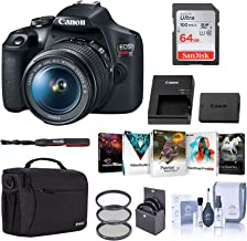 $419 » Canon EOS Rebel T7 DSLR Camera with EF-S 18-55mm Lens Bundle with Bag, 64GB SD Card, Corel PC Photo and Video Software Pack