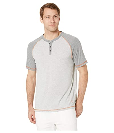 Tommy Bahama Short Sleeve Henley with Wicking (Heather Grey) Men