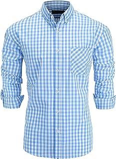 GoldCut Men's Regular Fit Long Sleeve Button-Down Plaid Dress Shirt
