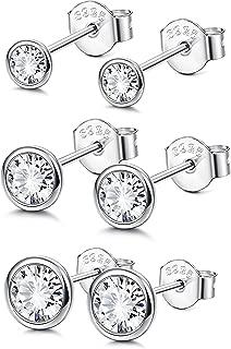 Sterling Silver Cubic Zirconia Bezel Set Stud Earrings Set for Women Girls Round Cut CZ Earrings 3 Pairs Martini Stud Earrings Hypoallergenic