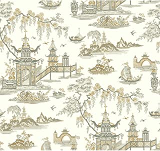 York Wallcoverings Waverly Classics II Peaceful Temple Removable Wallpaper, Blacks