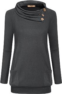 Miusey Womens Raglan Long Sleeve Cowl Neck Pullover Casual Tunic Sweatshirts Pockets