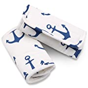 Navy Blue Anchor Car Seat and Stroller Strap Covers by The Peanut Shell