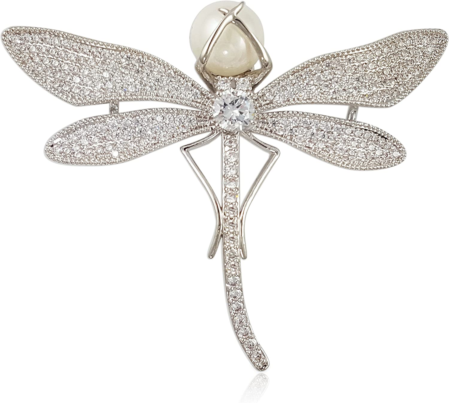 Crystal Pearl Dragonfly Brooch PIN Made with Swarovski Elements