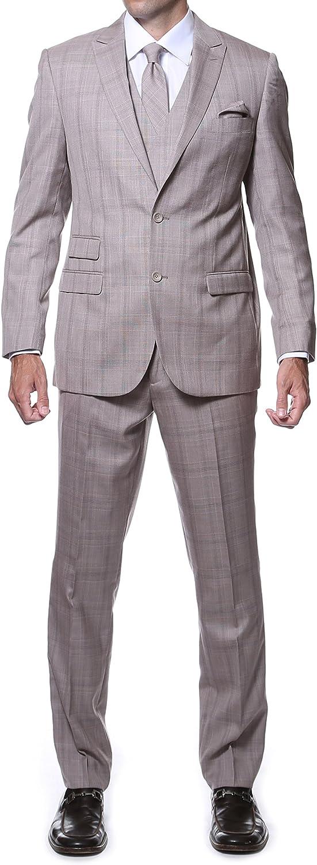 Ferrecci Men's Zillo Complete Free Shipping Bargain sale Slim Fit 3 Suit Plaid Piece