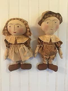Pilgrim Boy and Girl Primitive Folk Art Farmhouse Thanksgiving Fall