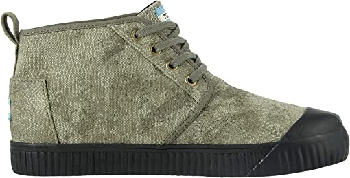 Dusty Olive Distressed Printed Canvas