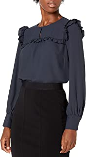 Amazon Brand - Lark & Ro Women's Crepe de Chine Long Sleeve Crew Neck Top with Ruffle Detail