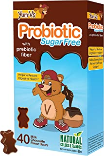 YUM-V's Probiotic for Kids, Milk Chocolate Flavor (40 Ct); Children's Daily Dietary Supplement Chewables with Prebiotic Fi...