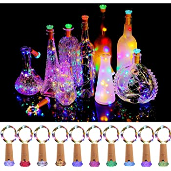 KZOBYD Wine Bottle Lights with Cork 10 Pack Fairy Battery Operated Mini Lights Diamond Shaped LED Cork Lights for Wine Bottles DIY Party Decor Christmas Halloween Wedding Festival (Multi Color)