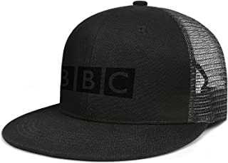 Blaze-Media-Logo- Flat Brim Hip-Hop Flat Edge Trucker Hat Plain Adjustable Pure Black Mesh Cap