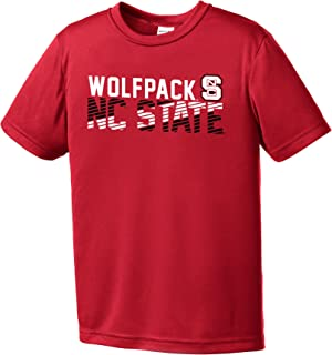 NCAA North Carolina State Wolfpack Youth Boys Diagonal Short sleeve Polyester Competitor T-Shirt, Youth Small,Red