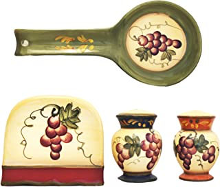 ACK Tuscany Grapevine Hand Painted Ceramic Table Top set, 84025/28