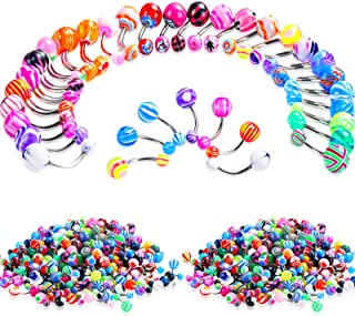 200 Pieces Belly Button Rings Banana Barbells Colorful Body Piercing Navel Rings Navel Barbell Acrylic Balls Steel Belly R...