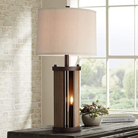 Gio Industrial Modern Rustic Farmhouse Table Lamp with Nightlight LED Bronze Wood Metal Oatmeal Drum Shade for Living Room Bedroom House Bedside Nightstand Home Office Family - Franklin Iron Works