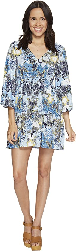 "Faira ""Wandering Floral"" Printed Rayon Challis Empire Dress"