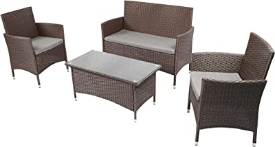 Amazon.com : Homall 4 Pieces Outdoor Patio Furniture Sets ...