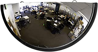 """18"""" Acrylic Bubble Half Dome Mirror with Black Rim, Round Indoor Security Mirror for Driveway Safety Spots, Outdoor Warehouse Side View, Circular Wall Mirror for Office Use - Vision Metalizers"""