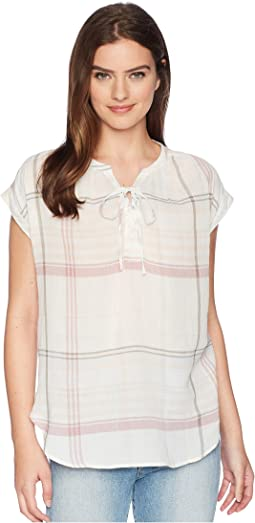 TWO by Vince Camuto - Extend Shoulder Lace-Up Plaid Manor Blouse