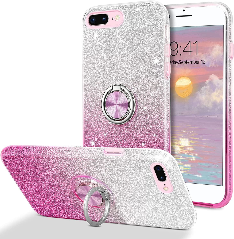 DUEDUE iPhone 7 Plus Case, iPhone 8 Plus Case, Sparkly Glitter Cover with Ring Holder TPU Bumper iPhone 7 Plus/iPhone 8 Plus 5.5