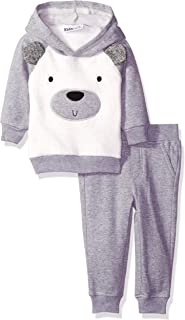 Kids Headquarters Baby Boys' Fleece Hoody with Faux Fur Piecing and Jogger Pants Set