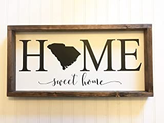YSHDNDML Home Sweet Home State Sign Home-Comprador Regalo Agente inmobiliario Cierre señal Regalo inauguración de la casa Madera Sign Farmhouse rústico decoración