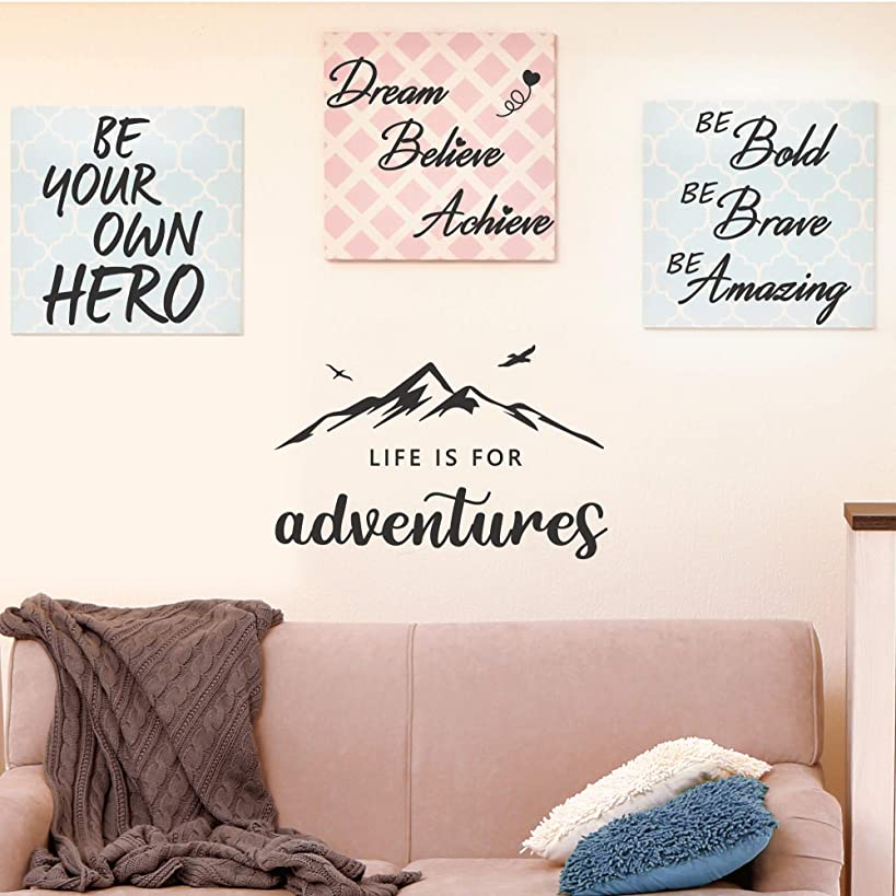 4 Set-Life is for Adventures-Be Your Own Hero-Be Bold Be Brave Be Amazing-Dream Believe Achieve-Inspirational Quotes Wall Decals Vinyl Wall Stickers for Bedroom Living Room Home Decor
