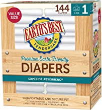 Earth`s Best TenderCare Chlorine-Free Disposable Baby Diapers, 8-14 lbs-Size 1 (144 Count)