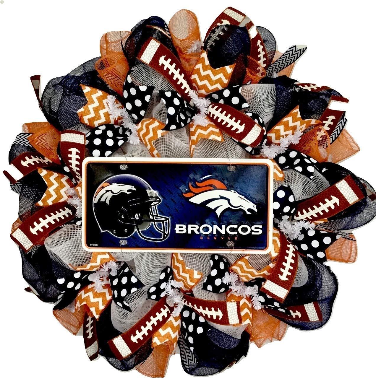 Denver Football Max 56% OFF Handmade Deco Wreath Mesh Max 51% OFF Sports