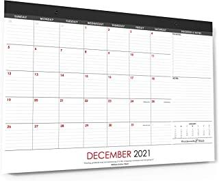Wordsworth & Black 2021 Monthly Desk/Wall Calendar 43 cm x 30 cm - Desktop Pad Blotter with Notes Section - Academic -Fami...