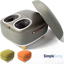 Simple Being Foot Massager Electric Ottoman Storage Removable Heating Lid, Shiatsu Therapy with Heat, Air Pressure, Vibration, Fits feet up to Men Size 14 (Grey)