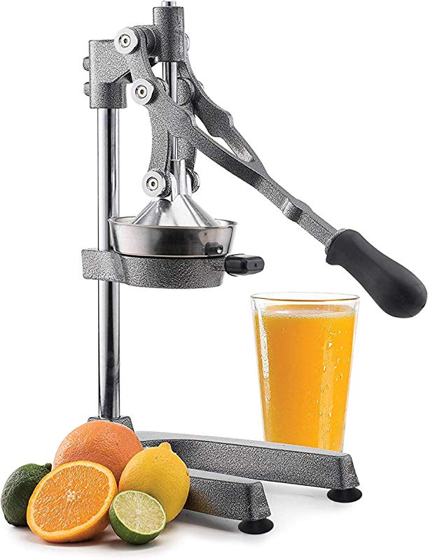 Manual Fruit Juicer Commercial Grade Home Citrus Lever Squeezer For Oranges Lemons Limes Grapefruits And More Stainless Steel And Cast Iron Non Skid Suction Cup Base 18 5 Inch By Vollum