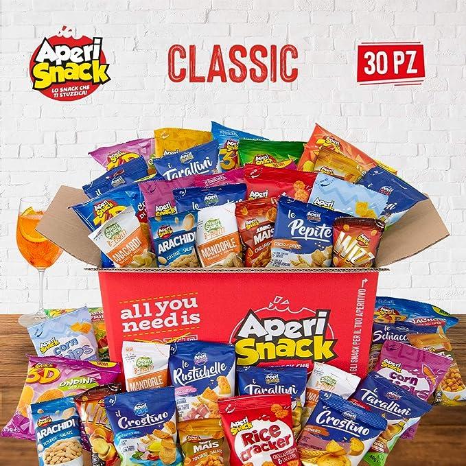 71 opinioni per APERIBOX CLASSIC 30- Snack box piena di patatine, snack salati, stuzzichini per