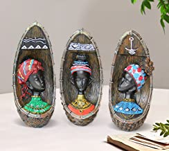 TIED RIBBONS African Lady Figurines Showpieces for Living Room Side Table Wall Shelf Decor Home Decoration (Pack of 3 Figu...