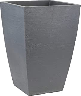 Tusco Products MSQT23SL Modern Square Garden Planter, 23-Inch, Slate