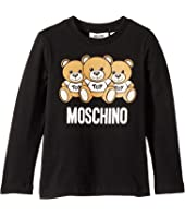 Moschino Kids - Long Sleeve Teddy Bear Logo Graphic T-Shirt (Little Kids/Big Kids)