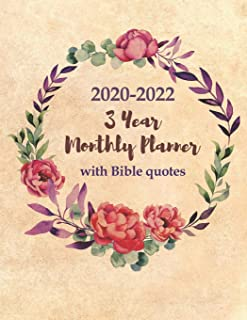 3 Year Monthly Planner 2020-2022 with Bible Quotes: Monthly Calendar Organizer for Church Goers - Agenda For 3 Years, One Month & One Bible Verse ... Letter Sized: 8.5 x 11 inch; 21.59 x 27.94 cm