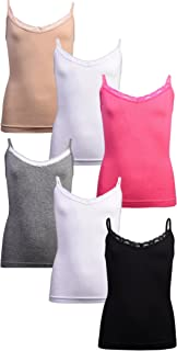Sweet & Sassy Girl's Seamless Undershirt Camisole Tank Top (Pack of 6)
