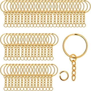 """100 Pieces Metal Split Key Rings with Chain and Open Jump Rings, 1"""" Diameter Split Key Chain Rings for DIY Crafts, Keys, P..."""