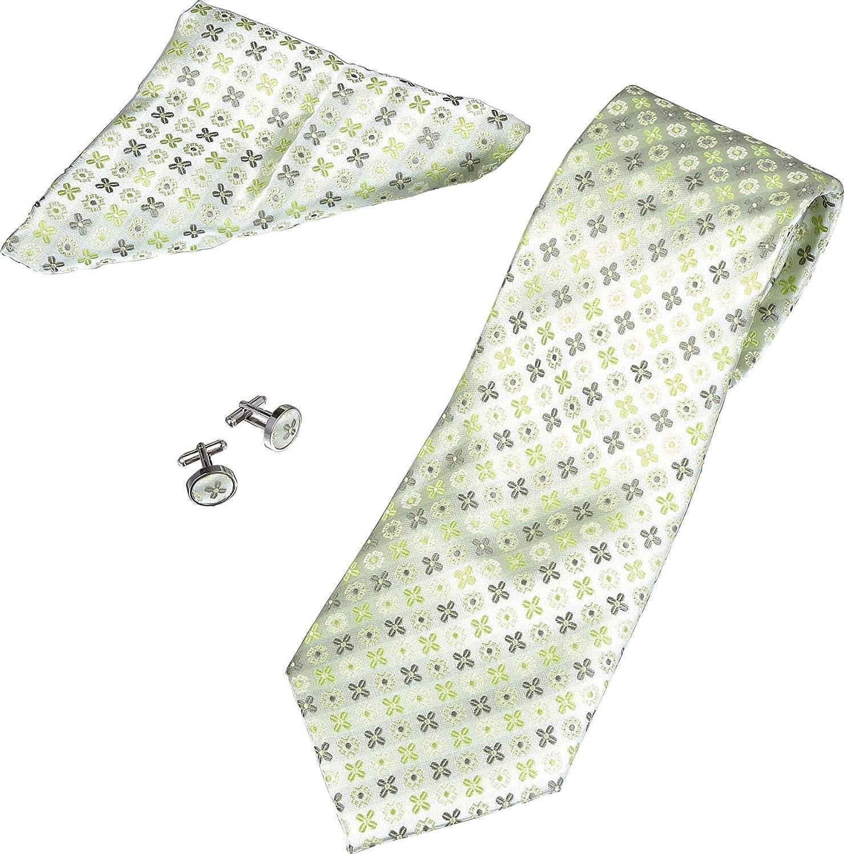 SuperCuffs Men's Flower Pattern Tie, Cufflinks and Pocket Square Gift Set
